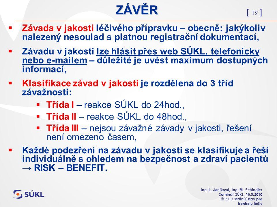 [ 19 ] Ing. L. Janíková, Ing. M. Schindler Seminář SÚKL, 1 6.
