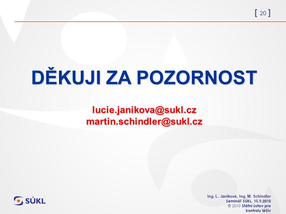 [ 20 ] Ing. L. Janíková, Ing. M. Schindler Seminář SÚKL, 1 6.