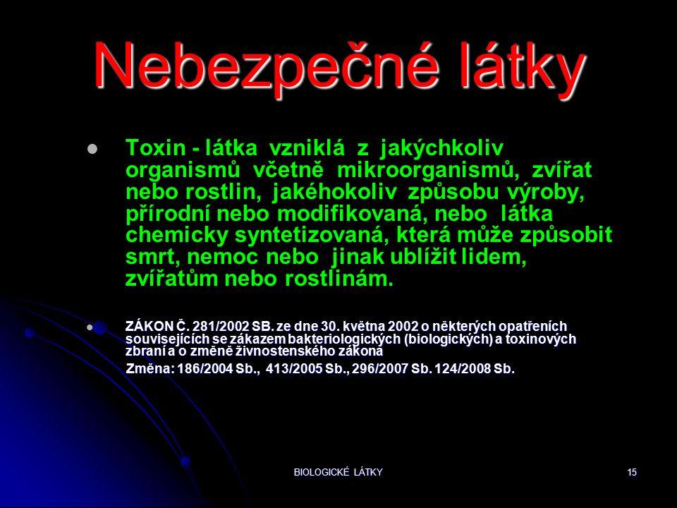 BIOLOGICKÉ LÁTKY15 Nebezpečné látky Toxin - látka vzniklá z jakýchkoliv organismů včetně mikroorganismů, zvířat nebo rostlin, jakéhokoliv způsobu výroby, přírodní nebo modifikovaná, nebo látka chemicky syntetizovaná, která může způsobit smrt, nemoc nebo jinak ublížit lidem, zvířatům nebo rostlinám.