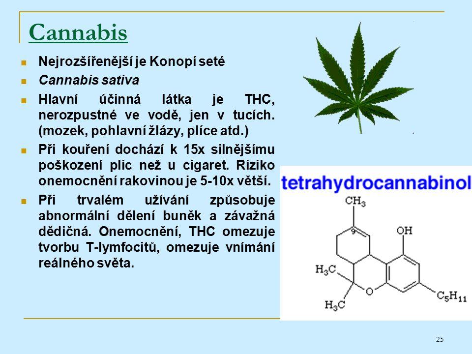 25 Cannabis Nejrozšířenější je Konopí seté Cannabis sativa Hlavní účinná látka je THC, nerozpustné ve vodě, jen v tucích.