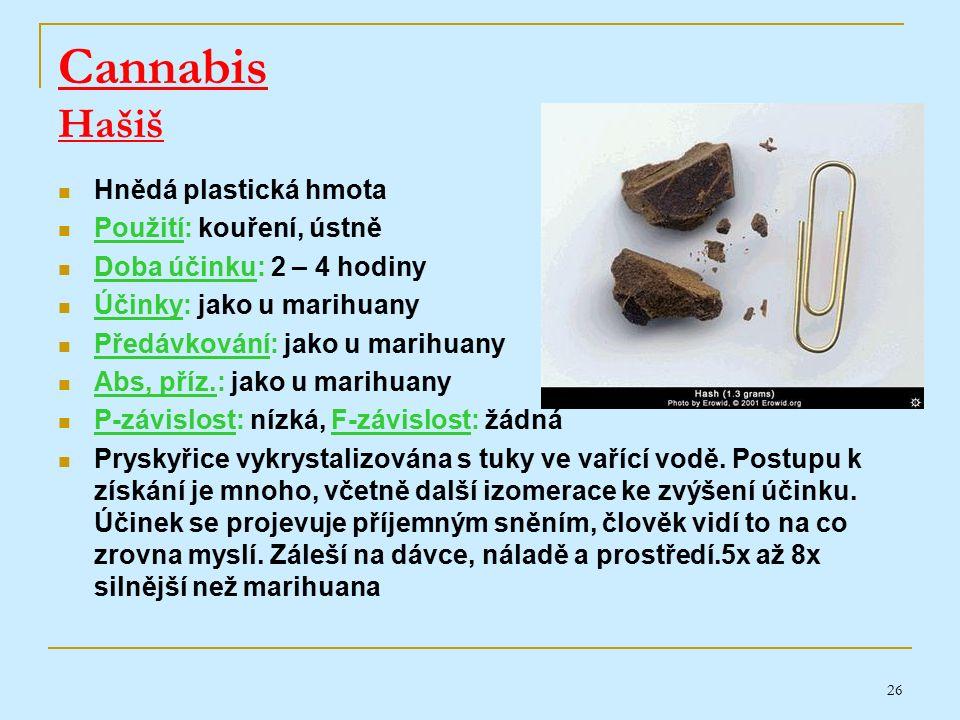 26 Cannabis Hašiš Hnědá plastická hmota Použití: kouření, ústně Doba účinku: 2 – 4 hodiny Účinky: jako u marihuany Předávkování: jako u marihuany Abs, příz.: jako u marihuany P-závislost: nízká, F-závislost: žádná Pryskyřice vykrystalizována s tuky ve vařící vodě.