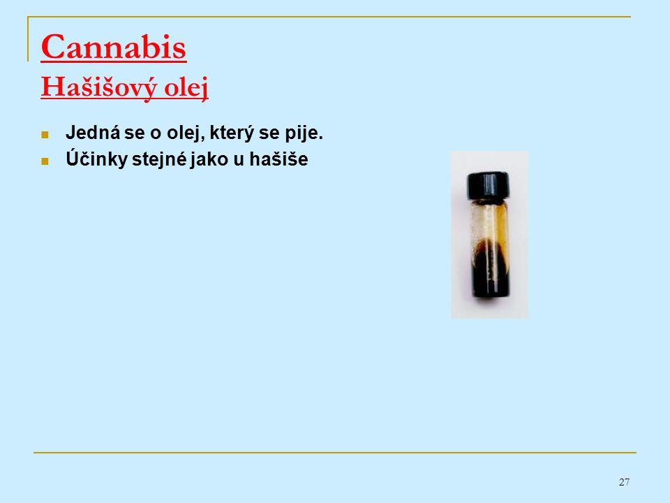 27 Cannabis Hašišový olej Jedná se o olej, který se pije. Účinky stejné jako u hašiše