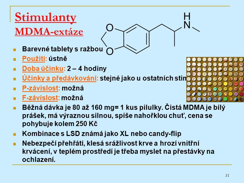 31 Stimulanty MDMA-extáze Barevné tablety s ražbou Použití: ústně Doba účinku: 2 – 4 hodiny Účinky a předávkování: stejné jako u ostatních stimulantů P-závislost: možná F-závislost: možná Běžná dávka je 80 až 160 mg= 1 kus pilulky.