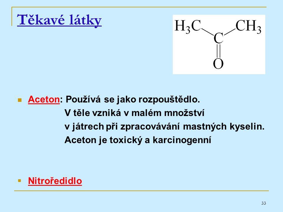 33 Těkavé látky Aceton: Používá se jako rozpouštědlo.