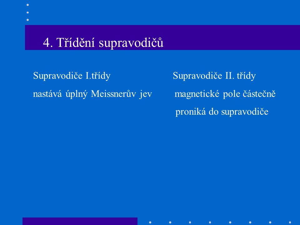 4. Třídění supravodičů Supravodiče I.třídy Supravodiče II.