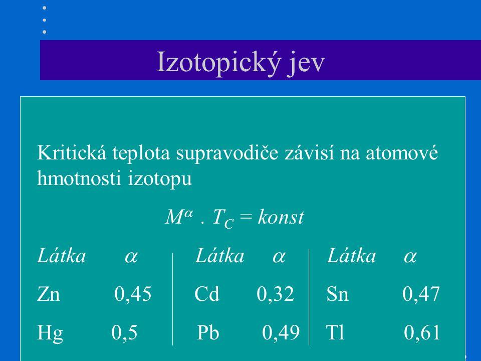 Izotopický jev Kritická teplota supravodiče závisí na atomové hmotnosti izotopu M .