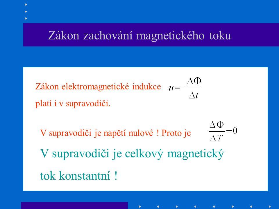Zákon zachování magnetického toku Zákon elektromagnetické indukce platí i v supravodiči.