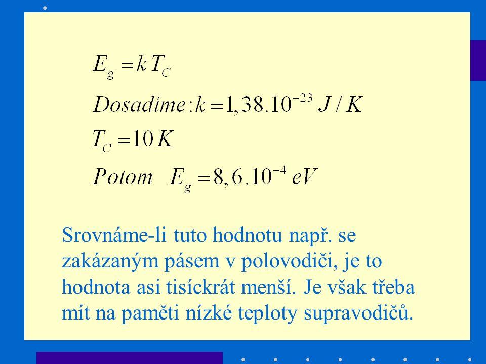 Srovnáme-li tuto hodnotu např. se zakázaným pásem v polovodiči, je to hodnota asi tisíckrát menší.