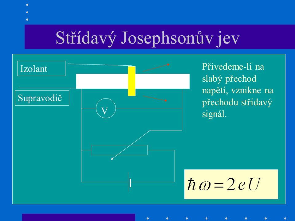 Střídavý Josephsonův jev V Přivedeme-li na slabý přechod napětí, vznikne na přechodu střídavý signál.
