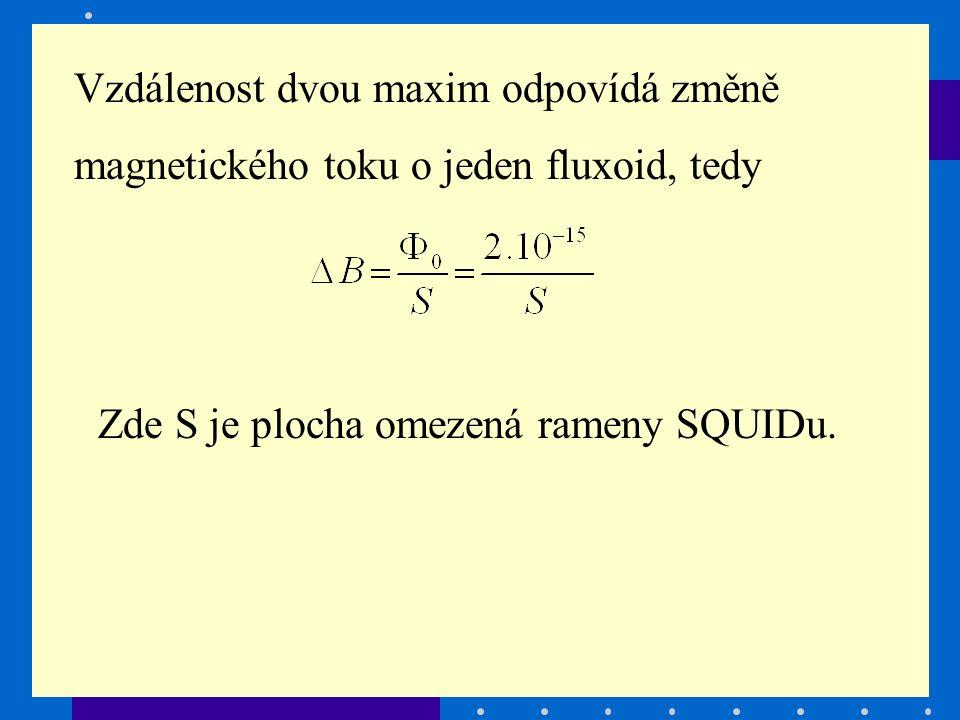 Vzdálenost dvou maxim odpovídá změně magnetického toku o jeden fluxoid, tedy Zde S je plocha omezená rameny SQUIDu.