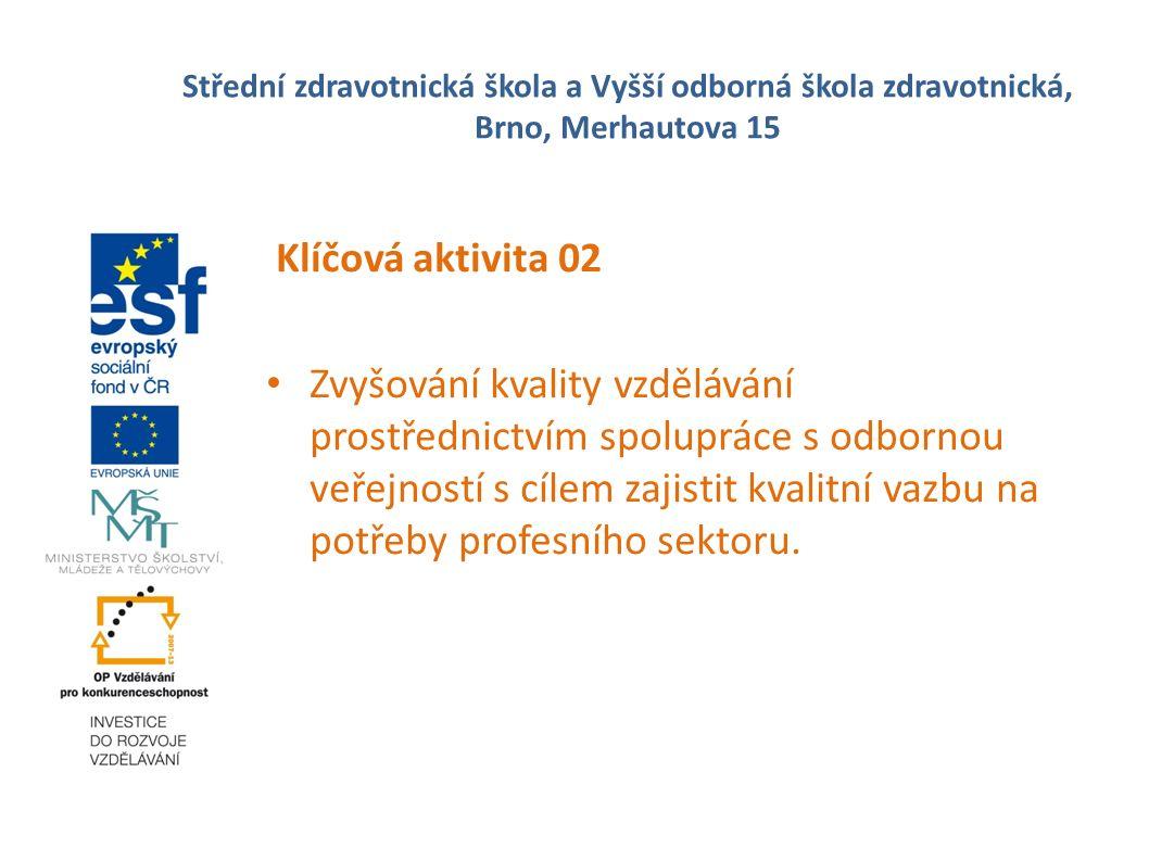 Střední zdravotnická škola a Vyšší odborná škola zdravotnická, Brno, Merhautova 15 Klíčová aktivita 02 Zvyšování kvality vzdělávání prostřednictvím spolupráce s odbornou veřejností s cílem zajistit kvalitní vazbu na potřeby profesního sektoru.