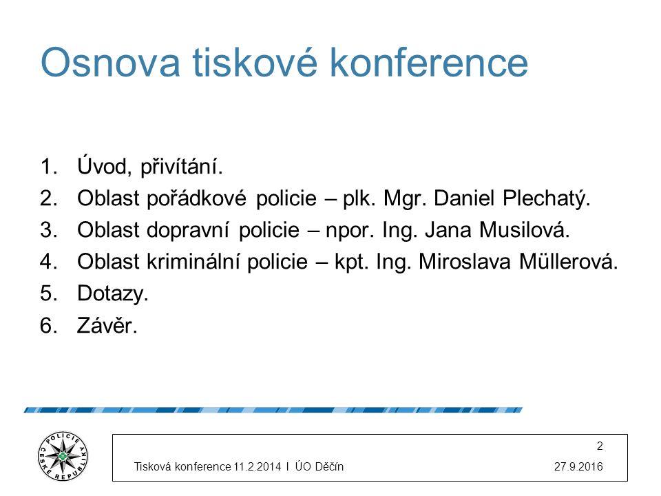 Osnova tiskové konference 1.Úvod, přivítání. 2.Oblast pořádkové policie – plk.