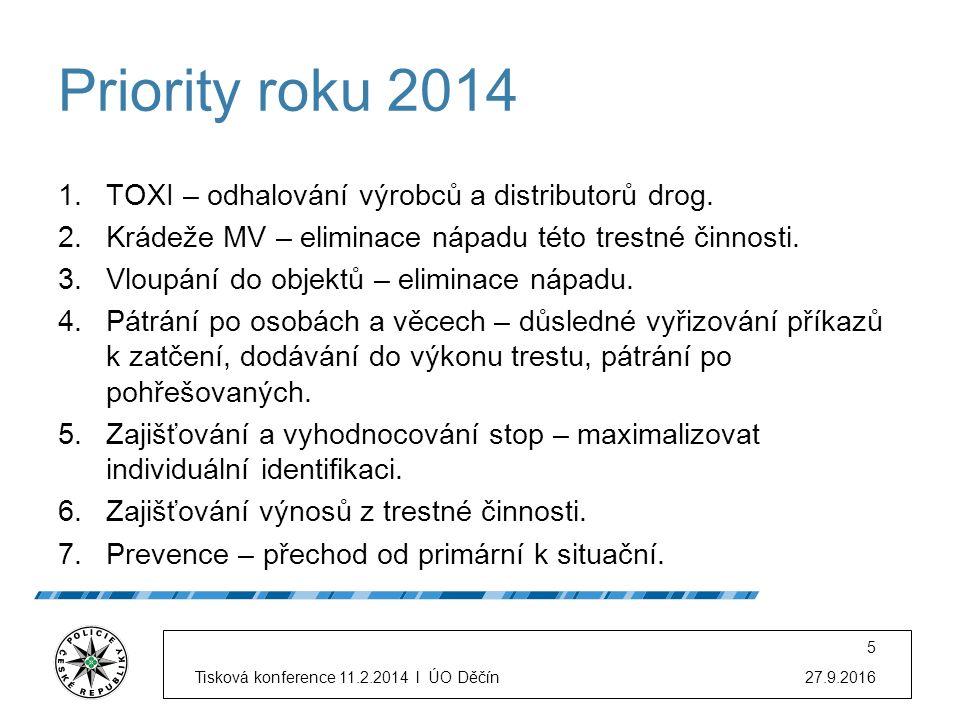 Priority roku 2014 1.TOXI – odhalování výrobců a distributorů drog. 2.Krádeže MV – eliminace nápadu této trestné činnosti. 3.Vloupání do objektů – eli