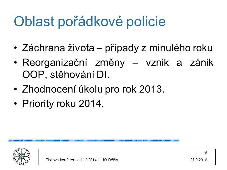 Oblast pořádkové policie Záchrana života – případy z minulého roku Reorganizační změny – vznik a zánik OOP, stěhování DI. Zhodnocení úkolu pro rok 201
