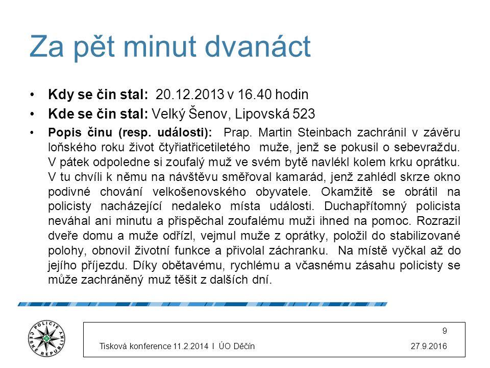 Za pět minut dvanáct Kdy se čin stal: 20.12.2013 v 16.40 hodin Kde se čin stal: Velký Šenov, Lipovská 523 Popis činu (resp. události): Prap. Martin St