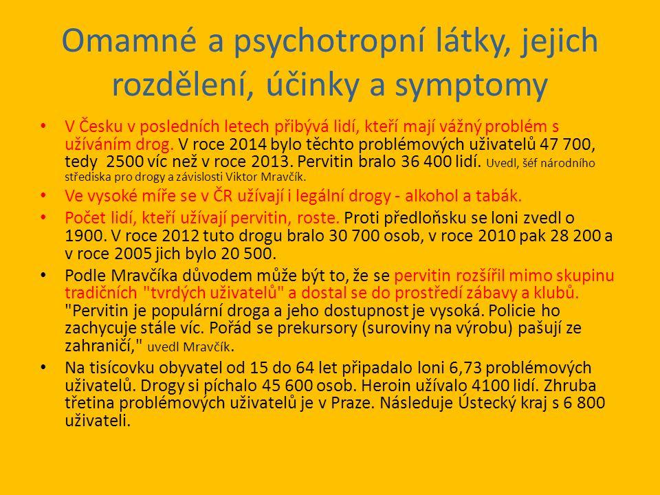 Legální drogy – cigarety a alkohol Podle národního protidrogového koordinátora Jindřicha Vobořila je v Česku vysoká i míra užívání legálních drog - tabáku a alkoholu.