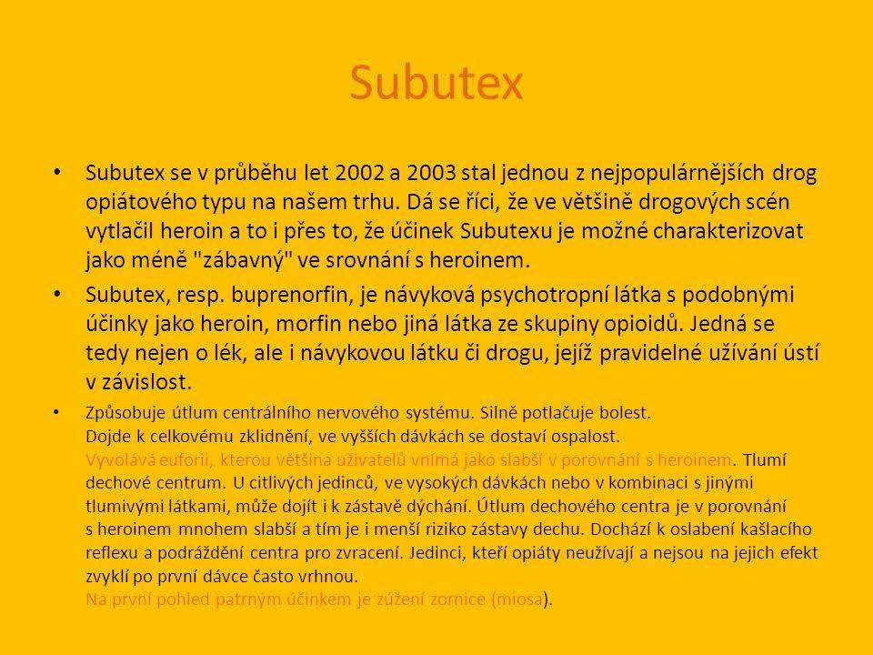 Subutex Subutex se v průběhu let 2002 a 2003 stal jednou z nejpopulárnějších drog opiátového typu na našem trhu.