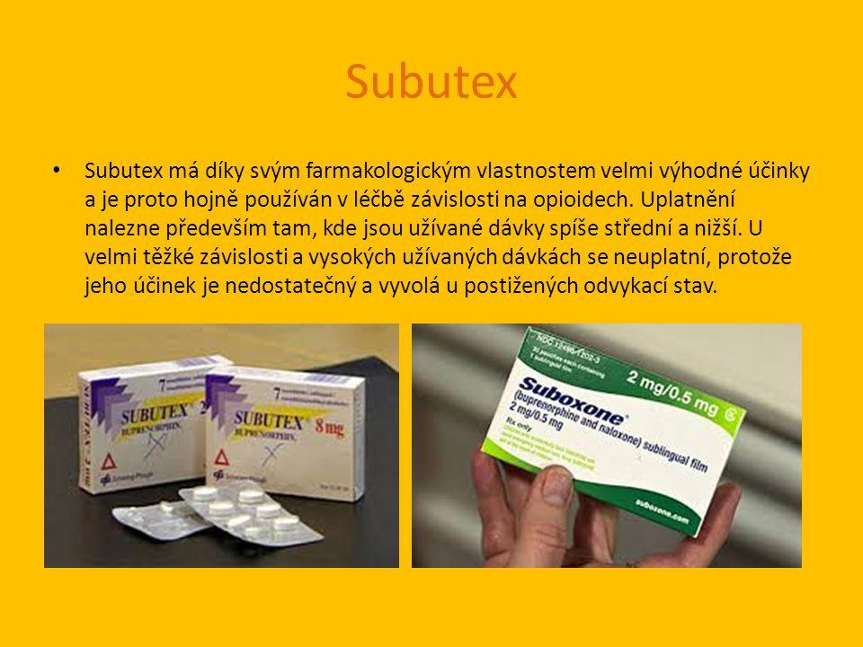 Subutex Subutex má díky svým farmakologickým vlastnostem velmi výhodné účinky a je proto hojně používán v léčbě závislosti na opioidech.