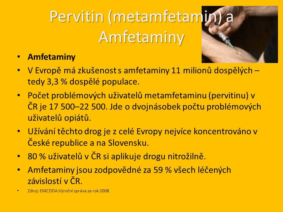 Pervitin (metamfetamin) a Amfetaminy Amfetaminy V Evropě má zkušenost s amfetaminy 11 milionů dospělých – tedy 3,3 % dospělé populace.