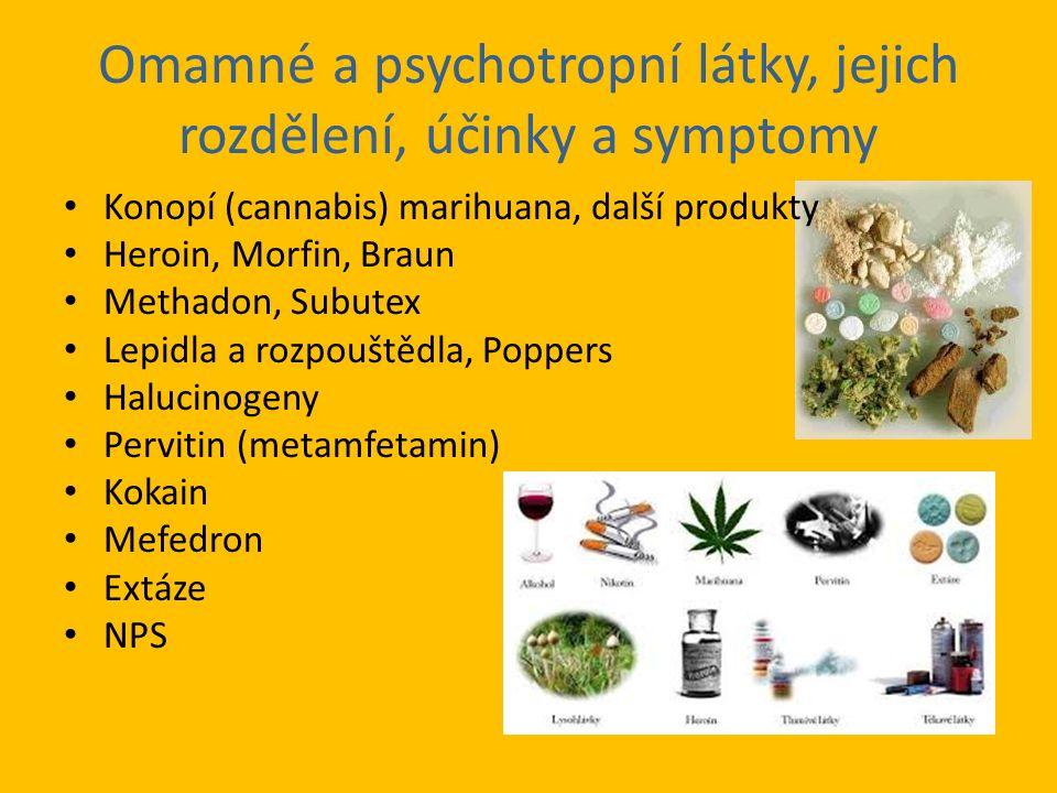 Omamné a psychotropní látky, jejich rozdělení, účinky a symptomy Konopí (cannabis) marihuana, další produkty Heroin, Morfin, Braun Methadon, Subutex Lepidla a rozpouštědla, Poppers Halucinogeny Pervitin (metamfetamin) Kokain Mefedron Extáze NPS