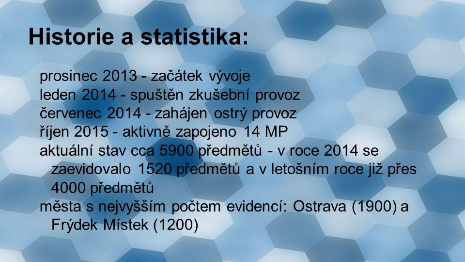 Historie a statistika: prosinec 2013 - začátek vývoje leden 2014 - spuštěn zkušební provoz červenec 2014 - zahájen ostrý provoz říjen 2015 - aktivně zapojeno 14 MP aktuální stav cca 5900 předmětů - v roce 2014 se zaevidovalo 1520 předmětů a v letošním roce již přes 4000 předmětů města s nejvyšším počtem evidencí: Ostrava (1900) a Frýdek Místek (1200)