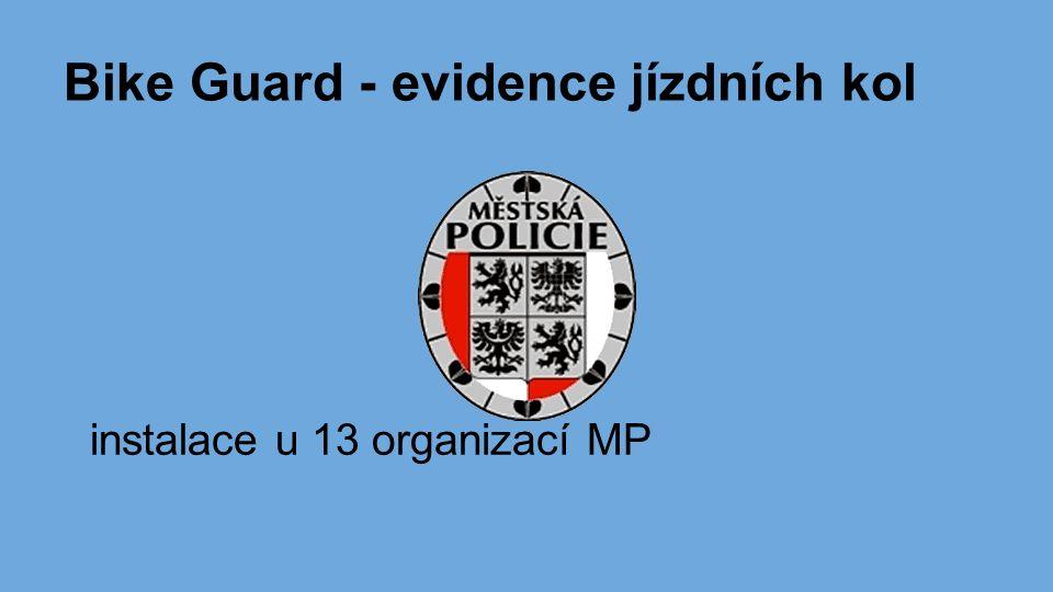 Bike Guard - evidence jízdních kol instalace u 13 organizací MP