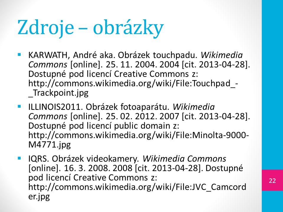 Zdroje – obrázky  KARWATH, André aka. Obrázek touchpadu.