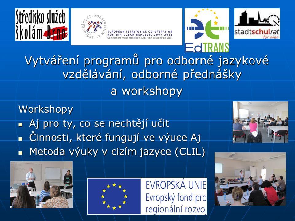 Letní škola NJ pro pedagogy ve Vídni (intenzivní jazyková výuka a reálie regionu) Vytváření programů pro odborné jazykové vzděláván, odborné přednášky a workshopy