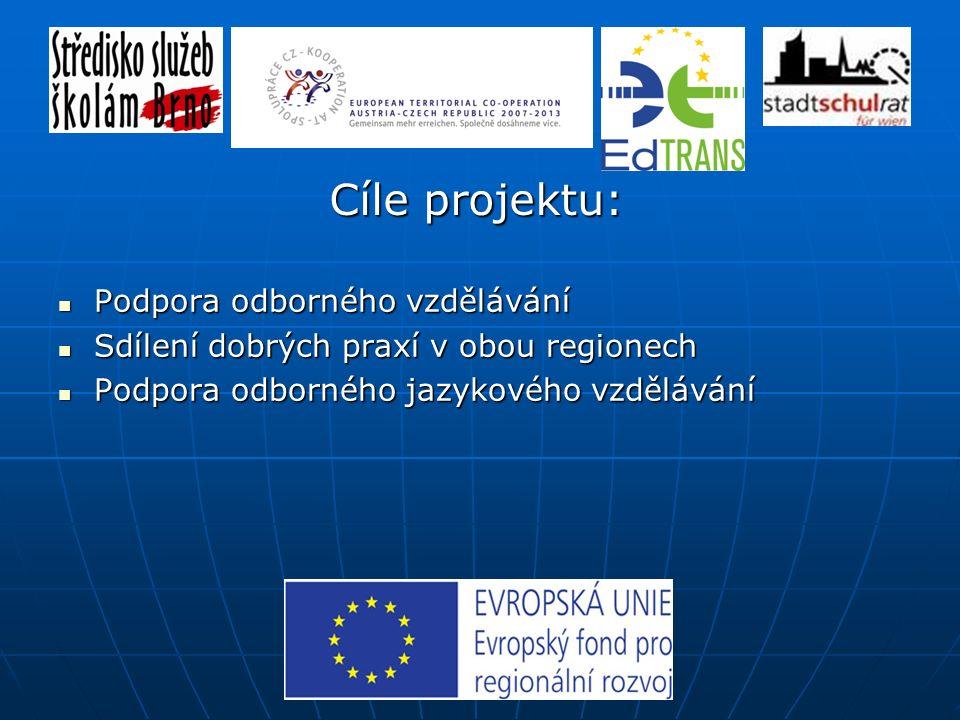 Podpora odborného vzdělávání Podpora odborného vzdělávání Sdílení dobrých praxí v obou regionech Sdílení dobrých praxí v obou regionech Podpora odborného jazykového vzdělávání Podpora odborného jazykového vzdělávání Cíle projektu: