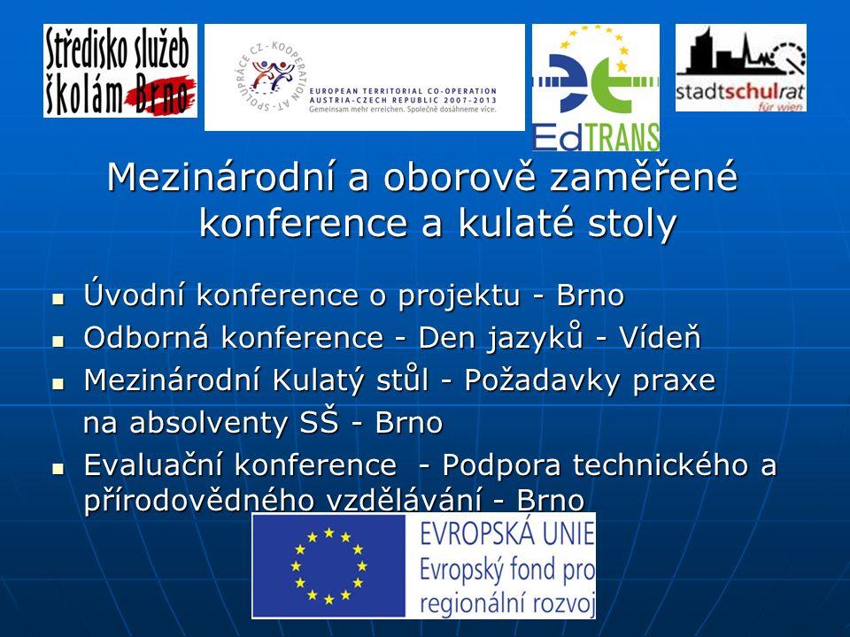 Úvodní konference o projektu - Brno Úvodní konference o projektu - Brno Odborná konference - Den jazyků - Vídeň Odborná konference - Den jazyků - Vídeň Mezinárodní Kulatý stůl - Požadavky praxe Mezinárodní Kulatý stůl - Požadavky praxe na absolventy SŠ - Brno na absolventy SŠ - Brno Evaluační konference - Podpora technického a přírodovědného vzdělávání - Brno Evaluační konference - Podpora technického a přírodovědného vzdělávání - Brno Mezinárodní a oborově zaměřené konference a kulaté stoly