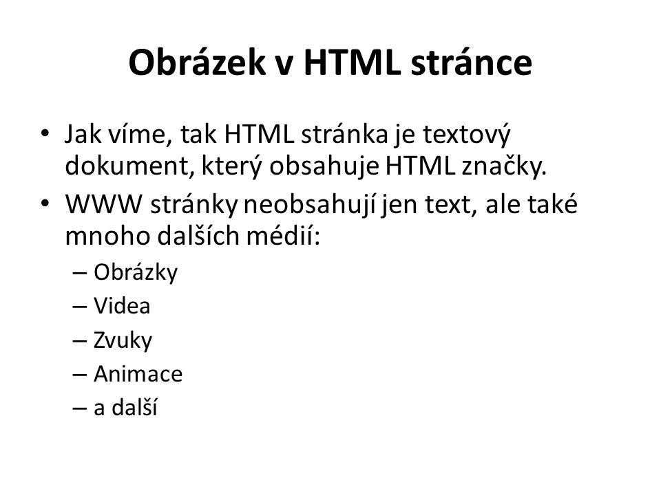 Obrázek v HTML stránce Jak víme, tak HTML stránka je textový dokument, který obsahuje HTML značky. WWW stránky neobsahují jen text, ale také mnoho dal