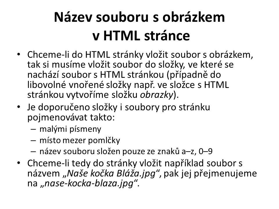 Název souboru s obrázkem v HTML stránce Chceme-li do HTML stránky vložit soubor s obrázkem, tak si musíme vložit soubor do složky, ve které se nachází soubor s HTML stránkou (případně do libovolné vnořené složky např.