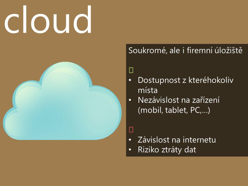 cloud Soukromé, ale i firemní úložiště Dostupnost z kteréhokoliv místa Nezávislost na zařízení (mobil, tablet, PC,…) Závislost na internetu Riziko ztráty dat
