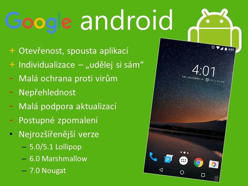 """android + Otevřenost, spousta aplikací + Individualizace – """"udělej si sám - Malá ochrana proti virům - Nepřehlednost - Malá podpora aktualizací - Postupné zpomalení Nejrozšířenější verze – 5.0/5.1 Lollipop – 6.0 Marshmallow – 7.0 Nougat"""