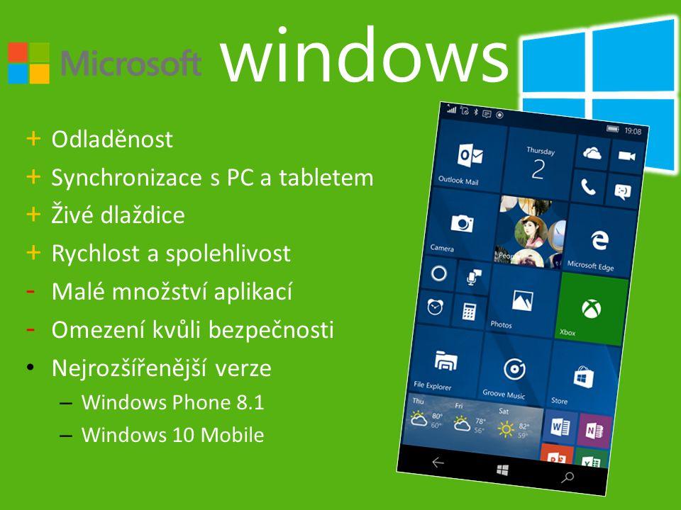 + Odladěnost + Synchronizace s PC a tabletem + Živé dlaždice + Rychlost a spolehlivost - Malé množství aplikací - Omezení kvůli bezpečnosti Nejrozšířenější verze – Windows Phone 8.1 – Windows 10 Mobile windows