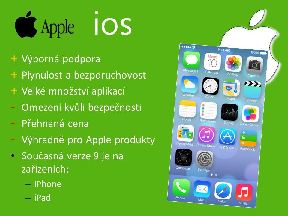 + Výborná podpora + Plynulost a bezporuchovost + Velké množství aplikací - Omezení kvůli bezpečnosti - Přehnaná cena - Výhradně pro Apple produkty Současná verze 9 je na zařízeních: – iPhone – iPad ios