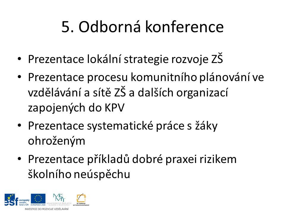 5. Odborná konference Prezentace lokální strategie rozvoje ZŠ Prezentace procesu komunitního plánování ve vzdělávání a sítě ZŠ a dalších organizací za