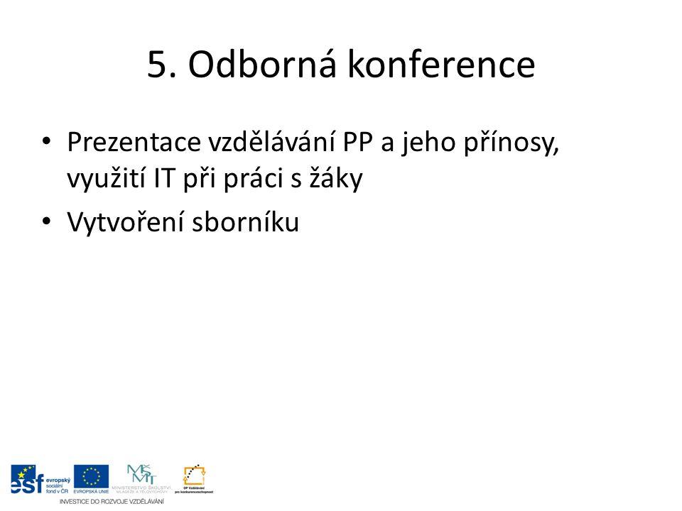 5. Odborná konference Prezentace vzdělávání PP a jeho přínosy, využití IT při práci s žáky Vytvoření sborníku