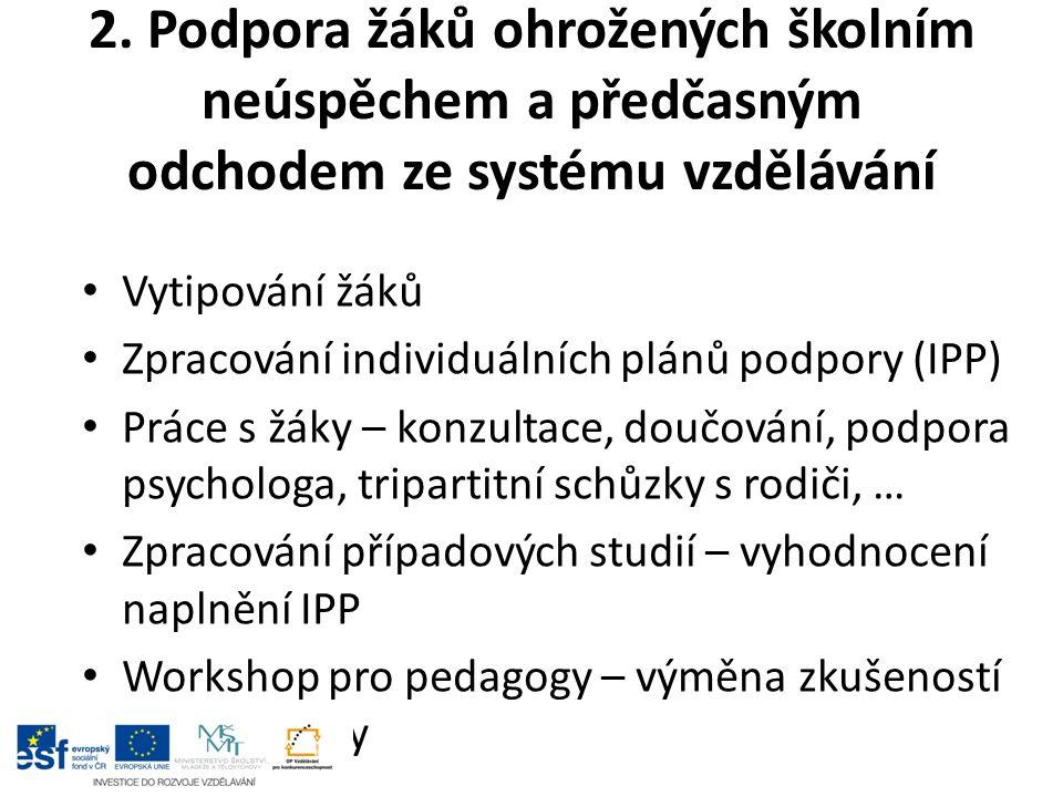 2. Podpora žáků ohrožených školním neúspěchem a předčasným odchodem ze systému vzdělávání Vytipování žáků Zpracování individuálních plánů podpory (IPP