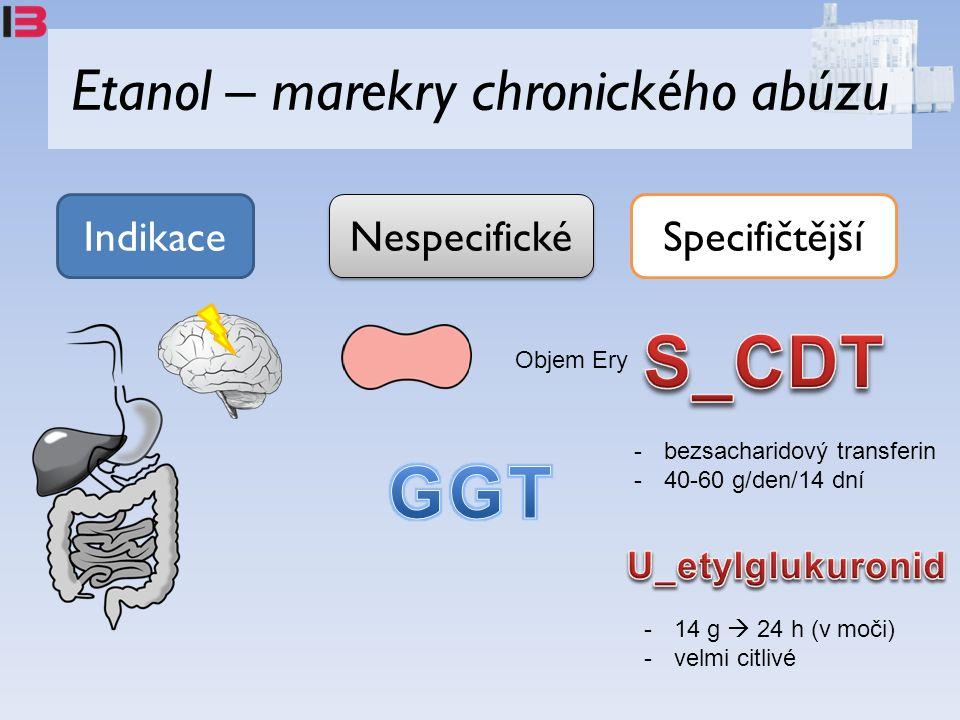 Etanol – marekry chronického abúzu Indikace Nespecifické Specifičtější Objem Ery -bezsacharidový transferin -40-60 g/den/14 dní -14 g  24 h (v moči) -velmi citlivé
