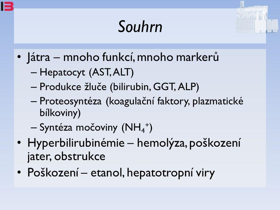 Souhrn Játra – mnoho funkcí, mnoho markerů – Hepatocyt (AST, ALT) – Produkce žluče (bilirubin, GGT, ALP) – Proteosyntéza (koagulační faktory, plazmatické bílkoviny) – Syntéza močoviny (NH 4 + ) Hyperbilirubinémie – hemolýza, poškození jater, obstrukce Poškození – etanol, hepatotropní viry