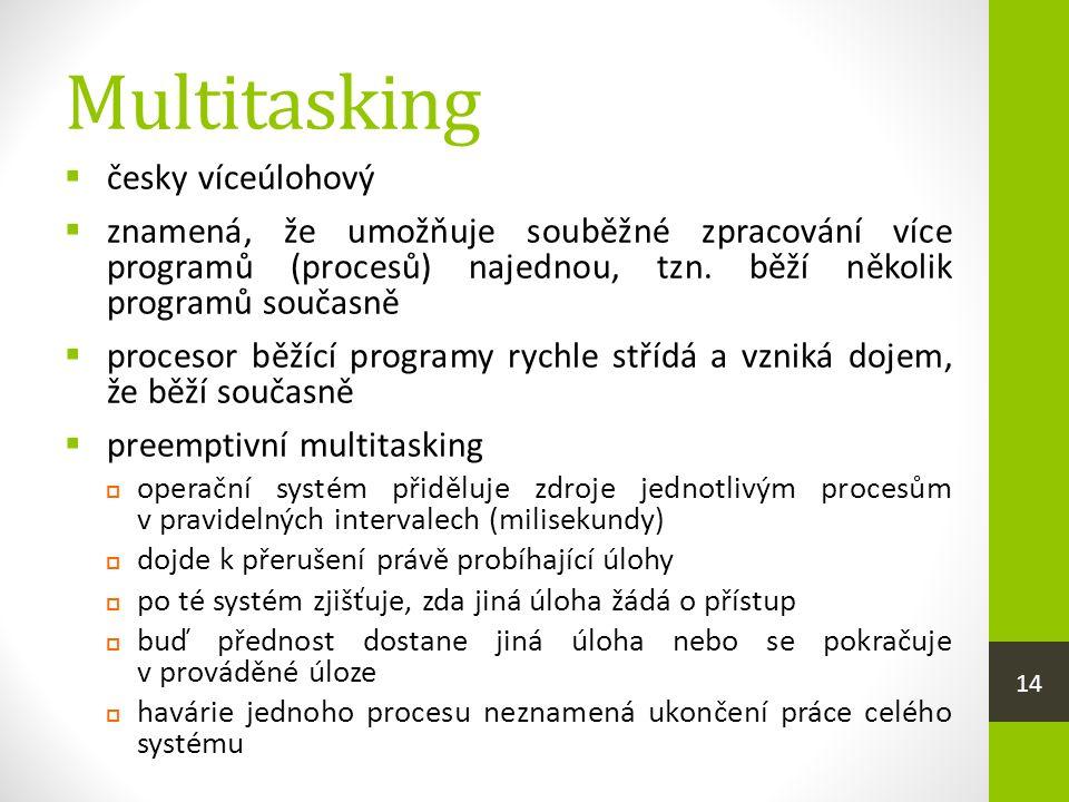 Multitasking  česky víceúlohový  znamená, že umožňuje souběžné zpracování více programů (procesů) najednou, tzn.