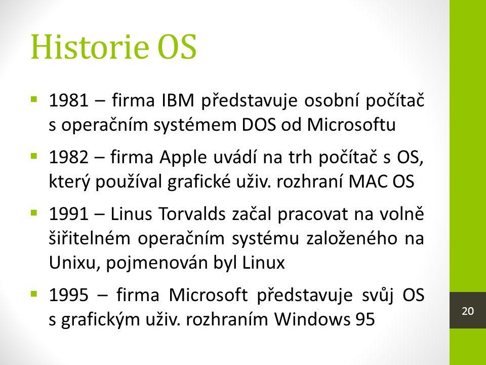 Historie OS  1981 – firma IBM představuje osobní počítač s operačním systémem DOS od Microsoftu  1982 – firma Apple uvádí na trh počítač s OS, který používal grafické uživ.