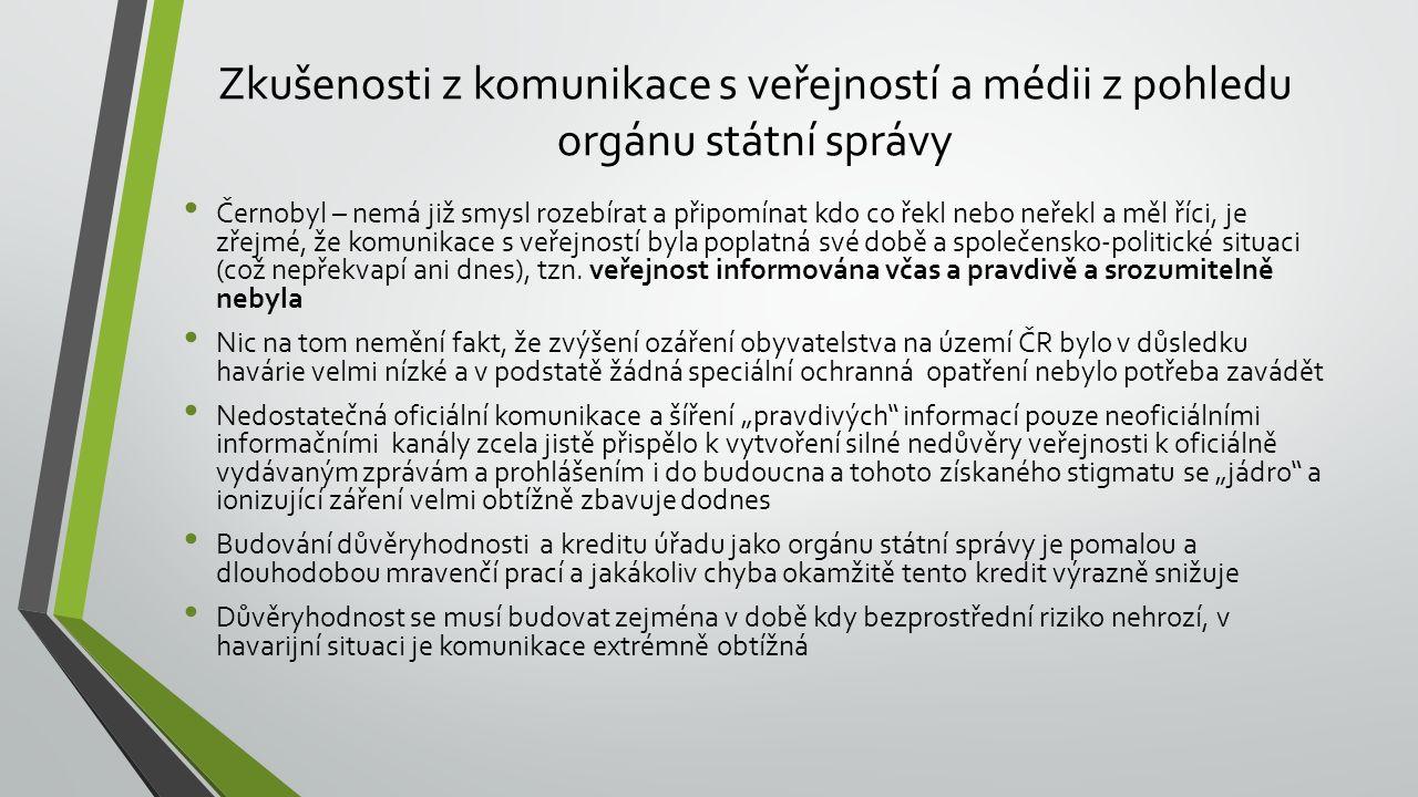 Zkušenosti z komunikace s veřejností a médii z pohledu orgánu státní správy Černobyl – nemá již smysl rozebírat a připomínat kdo co řekl nebo neřekl a měl říci, je zřejmé, že komunikace s veřejností byla poplatná své době a společensko-politické situaci (což nepřekvapí ani dnes), tzn.