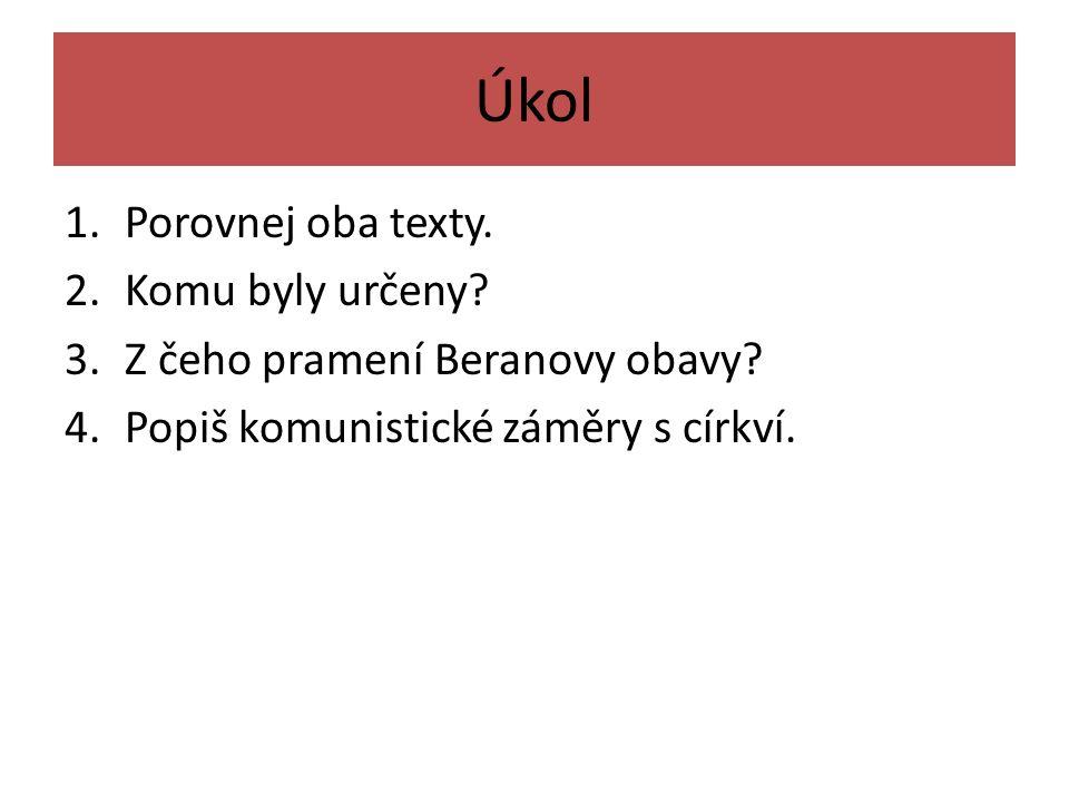 Úkol 1.Porovnej oba texty. 2.Komu byly určeny. 3.Z čeho pramení Beranovy obavy.