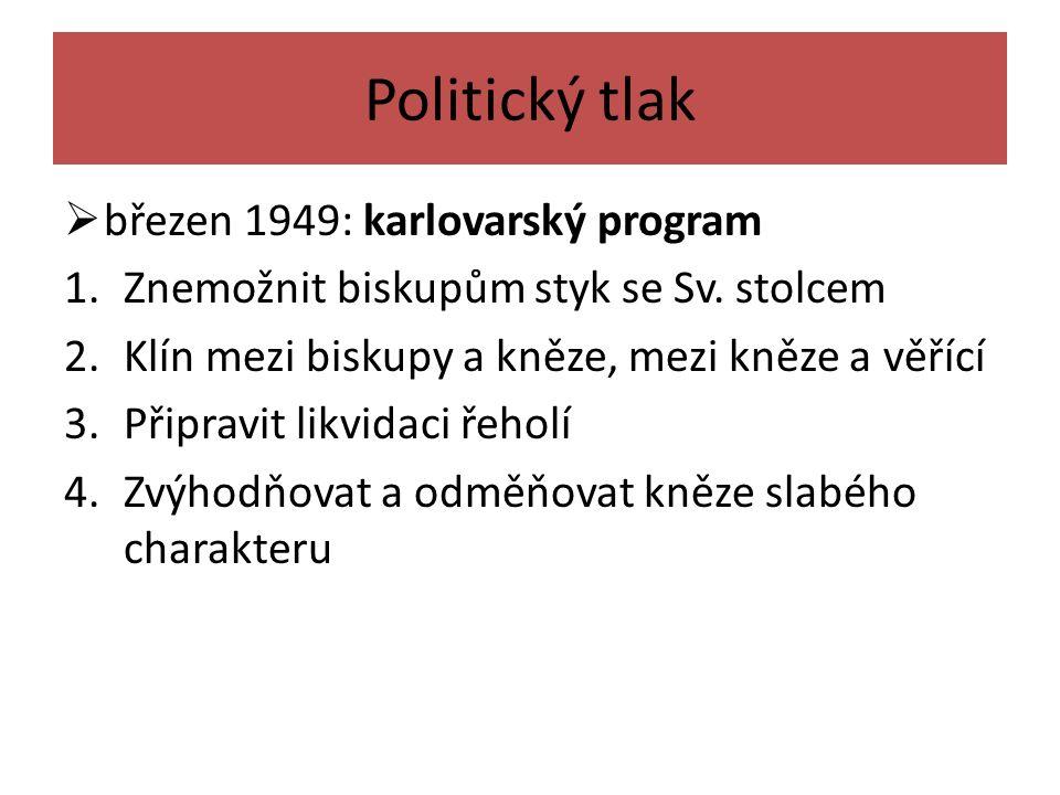 Politický tlak  březen 1949: karlovarský program 1.Znemožnit biskupům styk se Sv.