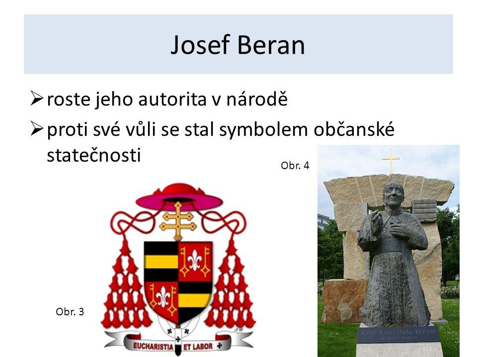 Josef Beran  roste jeho autorita v národě  proti své vůli se stal symbolem občanské statečnosti Obr.