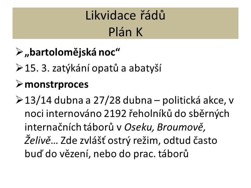 """Likvidace řádů Plán K  """"bartolomějská noc  15. 3."""