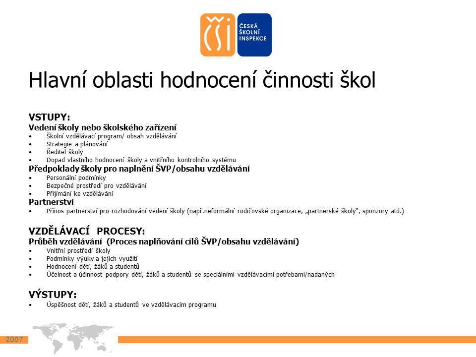 2007 Hlavní oblasti hodnocení činnosti škol VSTUPY: Vedení školy nebo školského zařízení Školní vzdělávací program/ obsah vzdělávání Strategie a pláno