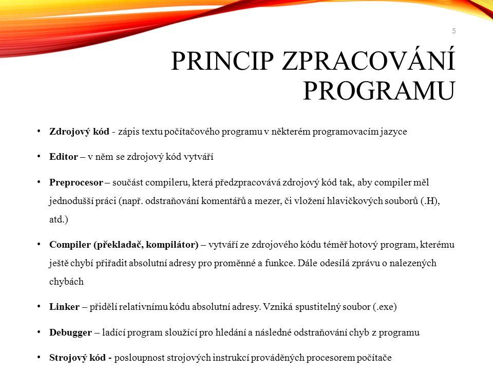Zdrojový kód - zápis textu počítačového programu v některém programovacím jazyce Editor – v něm se zdrojový kód vytváří Preprocesor – součást compiler